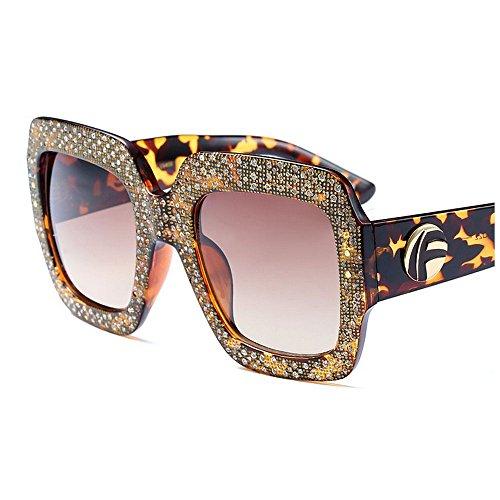 Mujeres de Las de Sol de de de cuadradas Gafas Personalidad del Grandes Peggy Protección la Gafas Ultravioleta Conducción Gu Gafas Cristal de Sol de la para Sol de Señora Marrón Grandes Color Negro 4xvzqO