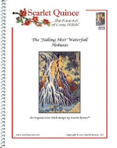- Scarlet Quince HOK001lg The 'Falling Mist' Waterfall by Hokusai Counted Cross Stitch Chart, Large Size Symbols