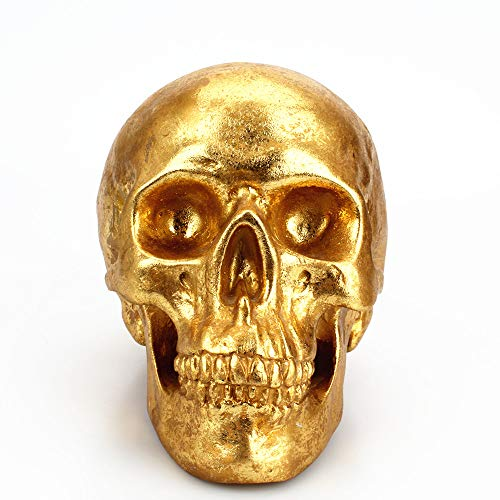 Ducklingup Skull Replica Piggy Bank,Resin Skull Ornament Money Box, Finish Day of The Dead Skull Decorations for Halloween Home Bar Decor 7.5 X 5.25 X 4.75 Inches Gold