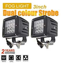 Jiuguang 12D Dual Color Offroad LED Strobe/Fog Lights 3X3 inch Square Cube Lights Spot Beam Driving Light for Off-road Truck