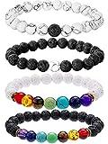 Best Bracelets For Mens - Bememo 4 Pieces Lava Stone Bracelets 7 Colors Review