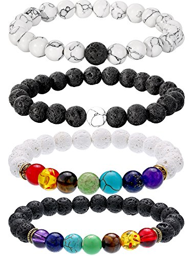 Bememo 4 Pieces Lava Stone Bracelets 7 Colors Chakra Beads, Aromatherapy Bracelets Bangles for Essential Oils (Style Set 3)