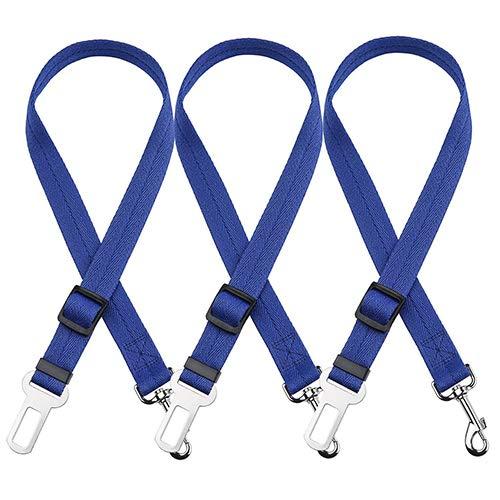 Dog Car Seat Belt 3PCS Adjustable Dog Seat Belt Pet Safety Leash Leads for Dogs Cats Adjustable from 50 to 75 cm Nylon Vehicle Seat Belt