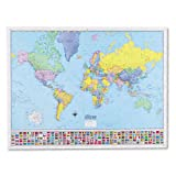 Kappa Map Deluxe Laminated World Political Map, 48w x 36h