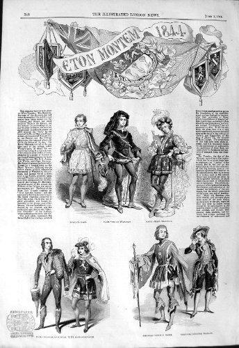 Print 1844 Eton Montem Costume Hussar Noble College Salt (Hussar Costume)