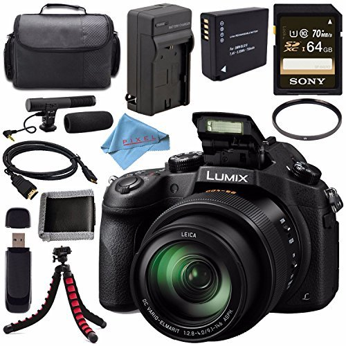 Panasonic Lumix DMC-FZ1000 Digital Camera + Lithium Ion Battery + Charger + Sony 64GB SDXC Card + Case + Tripod + HDMI Cable + Memory Card Wallet + Card Reader + Fibercloth + Condenser Mic Bundle (Panasonic Reader)