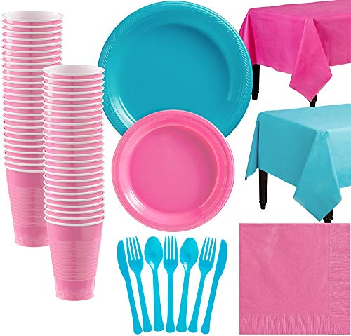 Party City Caribbean Blue and Bright Pink Plastic Tableware Kit for 50 Guests, 487 Pieces, Includes Tableware and Cups]()