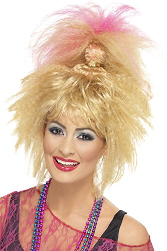 80s Style Wigs (Smiffy's Women's 80's Trademark Crimped High Blonde Ponytail with Pink Streaks, One Size, 5020570432563)