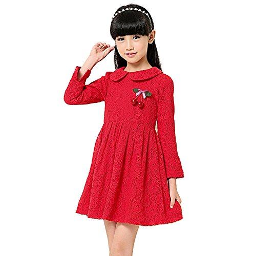 ipretty Otoño Invierno vestido de niña manga leeven Princesa Vestido Vestido de niña Party Ropa rojo 120 cm: Amazon.es: Ropa y accesorios