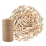 328 Feet Jute Twine and 100 Pcs Natural Wooden Clothespins Interior Decorating Photo Paper Peg Pin Graft Clips Natural Arts Crafts Jute Rope Durable Packing String for Gardening Applications