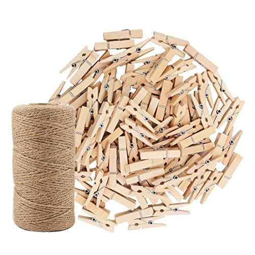 (328 Feet Jute Twine and 100 Pcs Natural Wooden Clothespins Interior Decorating Photo Paper Peg Pin Graft Clips Natural Arts Crafts Jute Rope Durable Packing String for Gardening Applications)