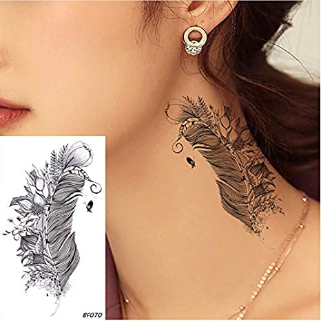 yyyDL Poco impermeable falso negro oreja tatuajes pegatinas ...