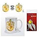 Set: Harry Potter, Hufflepuff Stencil Crest Photo Coffee Mug (4x3 inches) and 1 Harry Potter, Keychain Keyring For Fans (2x2 inches)