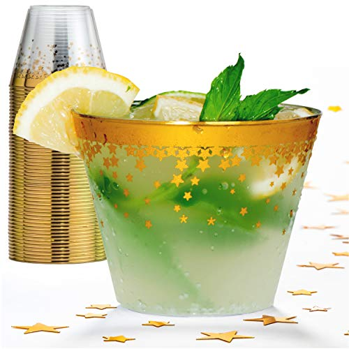 Gold Rim Plastic Party Cups – 9 Oz Disposable Plastic Tumblers 100 Count Clear Cocktail Glasses Tumblers Great Party & Hosting Supplies Wedding Showers Birthdays Bonus Decorative Star Design Conffeti -