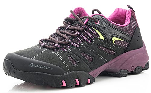 QOMOLANGMA Women's Suede Slip-Resistant Hiking Shoes Walking Sneakers Outdoor Trail Trekking Shoes, 9 M US Grey/Purple