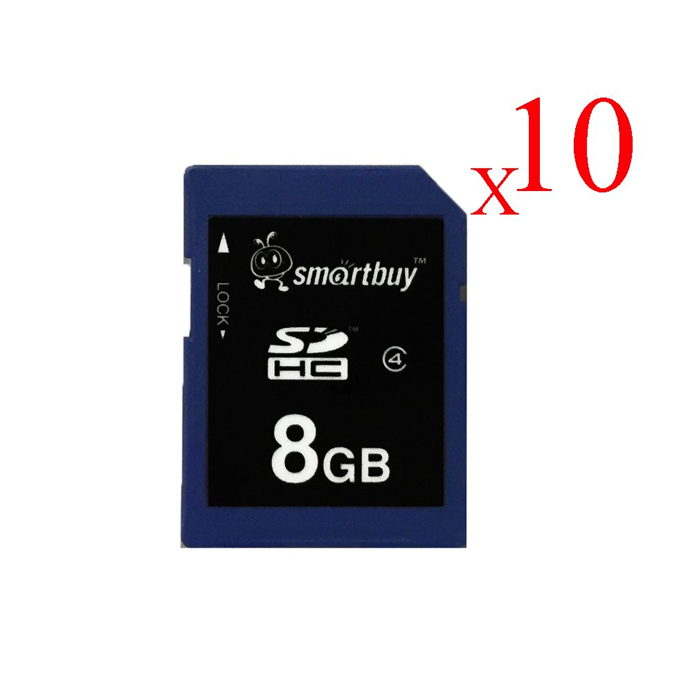 Smart Buy SDHC Class 4 Flash Memory Card SD HC Secure Digital C4 Fast Speed for Camera (8GB (10-Pack))