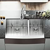 VIGO 36-inch Farmhouse Stainless Steel Kitchen Sink with Rounded Edge, Two Grids and Two Strainers