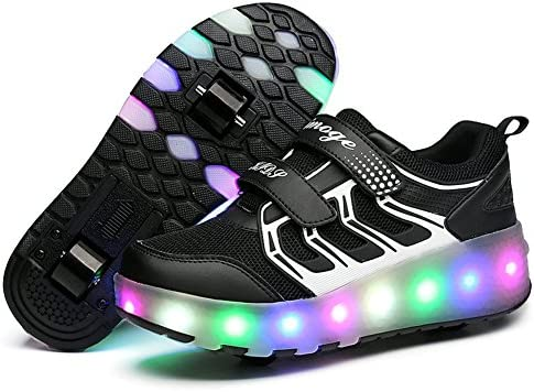 Chic Boys Girls LED Light up Double Wheel Shoes Roller Shoes Roller Sneakers
