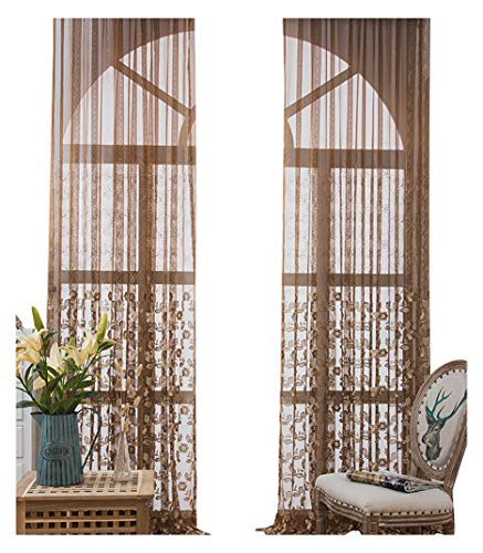 - ASide BSide Fashionable Design Floral Embroidered Sheer Curtains Panels Rod Pockets Gorgeous Window Decoration For Living Room Dining Room and Bedroom (1 Panel, W 52 x L 63 inch, Brown)