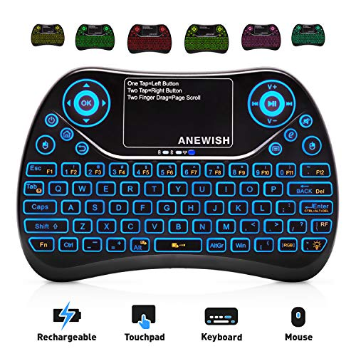 ANEWISH 2.4GHz RF Wireless Mini Keyboard with Touchpad Mouse Combo, Rechargable & Light & Handheld Smart Remote for Google Android TV - Combo Ps3