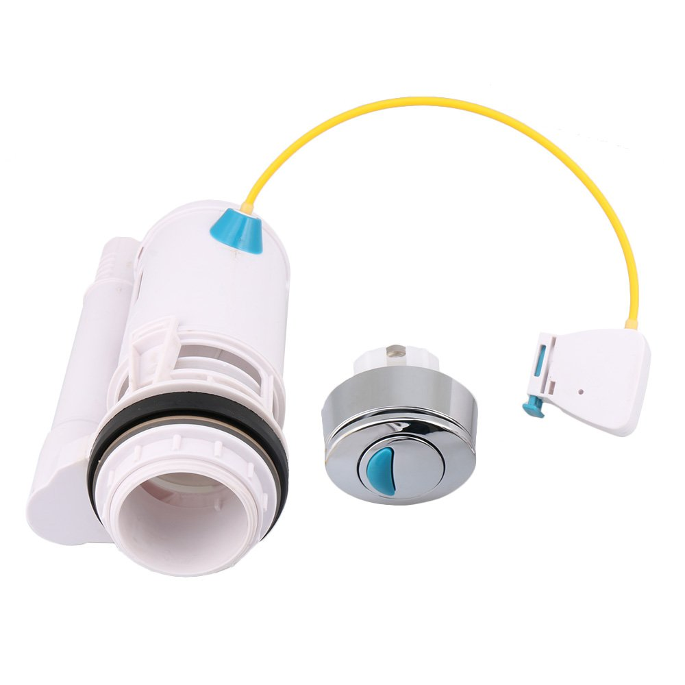 RDEXP Plastic Toilet Cistern Water-Saving Push Button Dual Drain Flush Valve Draw Off Valve Fit for 60-75mm Drainage Holes