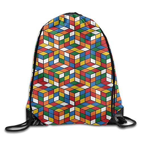Gym Drawstring Rubik's Cube World Unisex Drawstring Bag Simple Drawing Quick Dry Backpack Bag (Simple Drawstring)