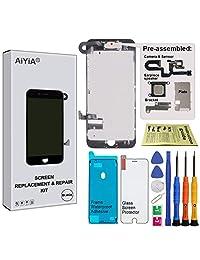 visualización digitalizador de visualización táctil LCD Asamblea con 3d Touch para el iPhone 7 Plus (5.5 inch) (con la cámara frontal de repuesto y sensor + Altavoz + Escudo Placa + Frame calcomanía de pegamento), Negro