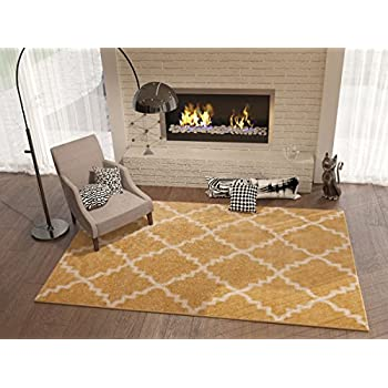 This Item Golden Yellow 3x5 33 X 47 Area Rug Trellis Morrocan Modern Geometric Wavy Lines Living Dining Room Bedroom Kitchen Carpet Contemporary