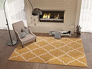 Golden yellow 5x8 5 39 3 x 7 39 3 area rug for Living room rugs amazon