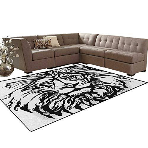 (Lion,Rug,Sketch Art of African Safari Animal King of The Jungle Savannah Wildlife,Home Decor Floor Carpet,Black White Pale Grey Size:6'x9')