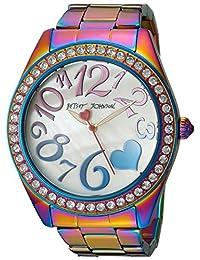 Betsey Johnson Women's BJ00624-01 Rainbow Oil Slick Stainless Steel Case and Bracelet Watch