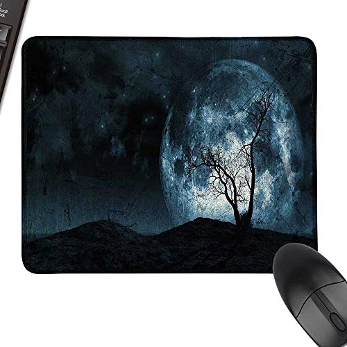 Fantasy Gaming Mousepad Night Moon Sky with Tree Silhouette Gothic Halloween Colors Scary Artsy Background with Stitched Edges 23.6