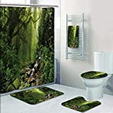 Philip-home 5 Piece Banded Shower Curtain Set Creek in The Woods and Trees in The Fog Pattern Adornment