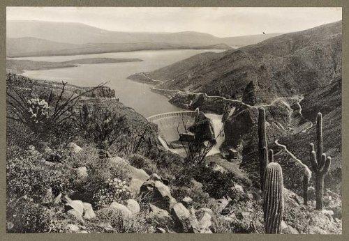 Photo: Theodore Roosevelt Dam,lake,cacti,Arizona,c1911 (Lake Theodore Roosevelt)