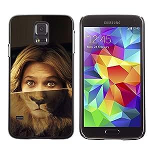 Caucho caso de Shell duro de la cubierta de accesorios de protección BY RAYDREAMMM - Samsung Galaxy S5 SM-G900 - Portrait Woman Lion Eyes Green Blonde
