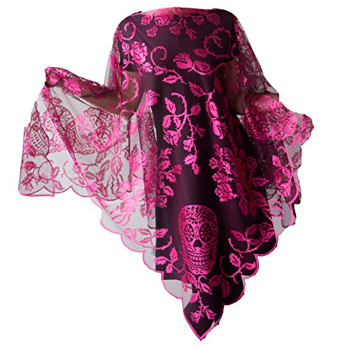 Heritage Lace Halloween Sugar Skulls Poncho 58x58 Inch, Skulls and Roses, Pink