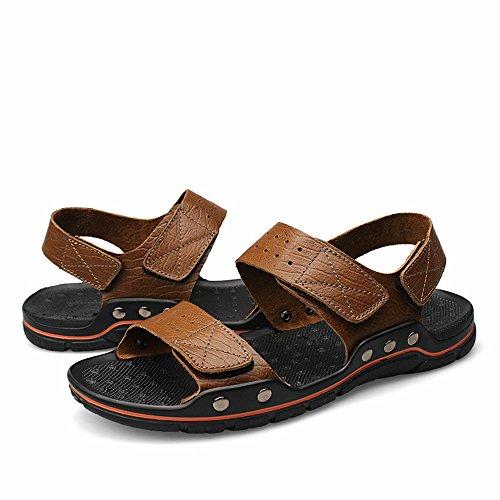 da dimensioni traspirante Casual uomo Vera Outdoor Uomo 2018 i comfort Scarpe regolabile Sandali uomo Cachi grasso Tocco Allacciare skid Spiaggia Anti di pelle sandali bovina da grandi xwxZqIH