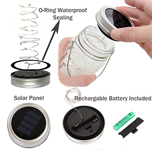 Solar Mason Jar Lid Lights,6 Pack 20 Led Fairy Firefly String Jar Lids Lights,6 Hangers 16ft Hemp Rope Included(No Jars),Outdoor Solar Lantern for Patio Yard Garden Wedding Party Table Decor