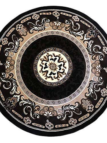 (Kingdom Traditional Round Persian Area Rug Chocolate Brown Design D123 (6 Feet 7 InCH X 6 Feet 7 Inch Round))