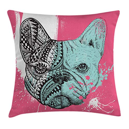 Ambesonne Modern Throw Pillow Cushion Cover, French Bulldog Split with Embellished Ethnic and Paintbrush Artwork, Decorative Square Accent Pillow Case, 18 X 18 Inches, Pink Seafoam Black White by Ambesonne
