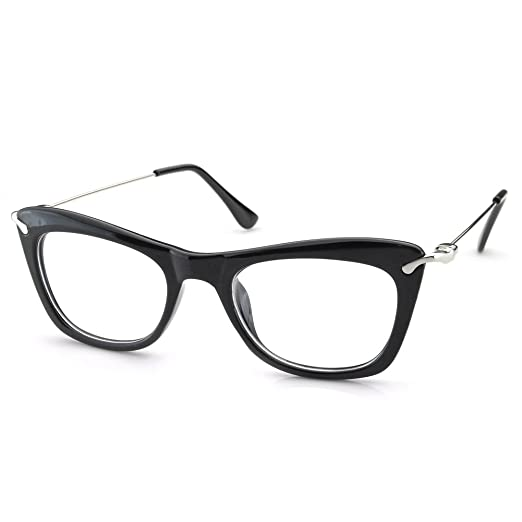 f1c7bb7a68 PenSee Womens Thick Cat Eye Edgy Retro Eyewear Eyeglasses Frames (Matt Black