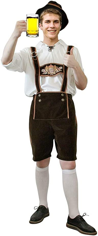 Mens Bavarian Mr Oktoberfest Fancy Dress German Beer Suede Lederhosen Outfit