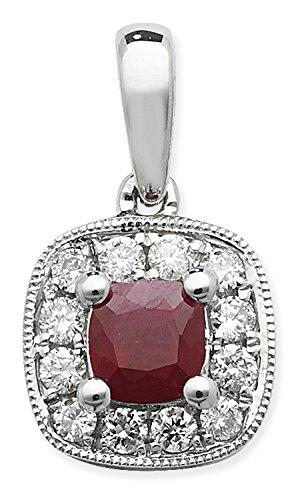 Pendentif Coussin Ruby 0,38ct et diamant 0,16ct Or Blanc 9ct