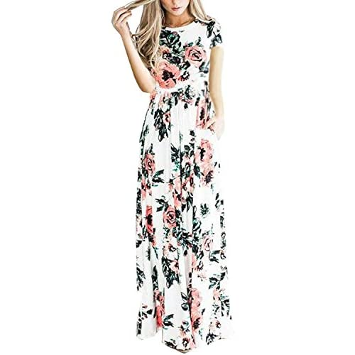 b0a91ddf4f6e4 durable modeling VOKY Women s Short Sleeve Printing Dress Round Neck Boho Plus  Size Long Maxi Dress