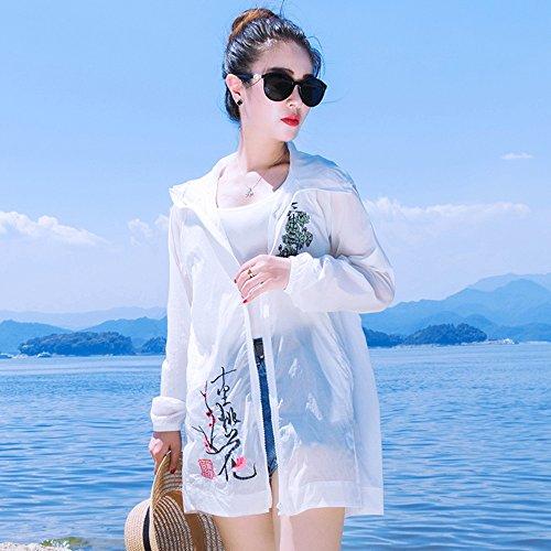 QFFL fangshaifu 夏の女性ロングセクションルースサンプロテクションウェア/ファッション刺繍バックホローシンコート/ホワイトビーチサンプロテクションショール (サイズ さいず : M)