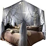 Joyreap Mosquito Bed Canopy Net - Luxury Canopy Netting - 4 Corners Post Bed Canopies - Princess Style Bedroom Decoration for Adults &Girls - for Twin/Full/Queen/King (Grey-Blue, 59' W x 78' L)