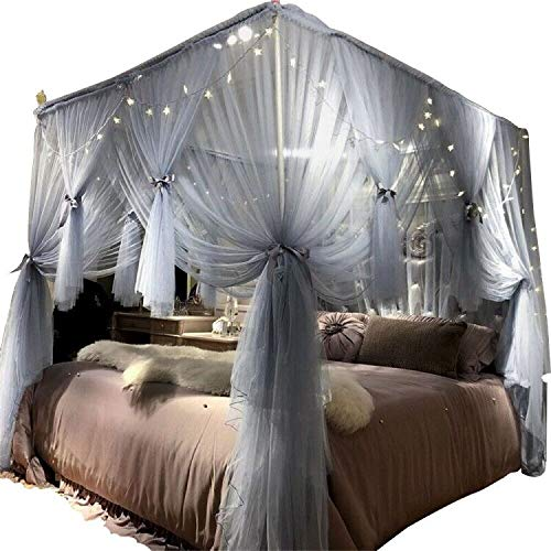 Joyreap Mosquito Bed Canopy Net - Luxury Canopy Netting - 4 Corners Post Bed Canopies - Princess Style Bedroom Decoration for Adults &Girls - for Twin/Full/Queen/King (Grey-Blue, 59 W x 78 L)