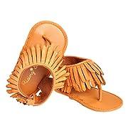 Baby Girl's Tassel Soft Sole Shoes Bling Bling Anti Slip Flip-Flops Sandals for 0-12 Months (0-6 Months, Brown)
