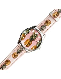 ZIZ Pineapple Art Watch Unisex Wrist Watch, Quartz Analog Watch with Leather Band