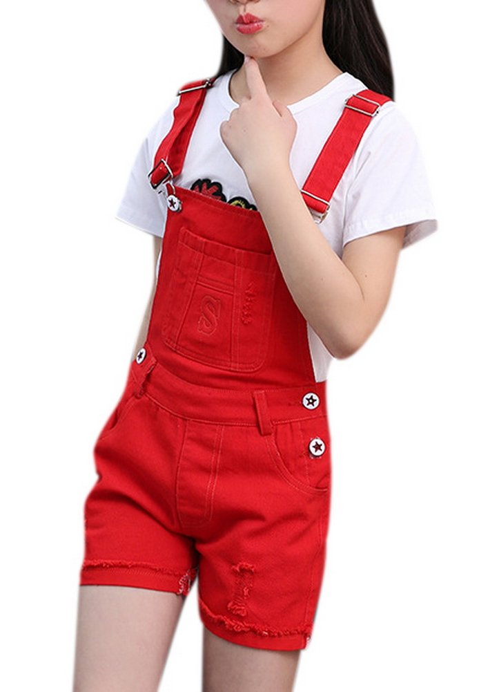 Luodemiss Girls Big Kids Classic Denim Overalls Cute Jumpsuit Casual One Piece Romper 160 Red